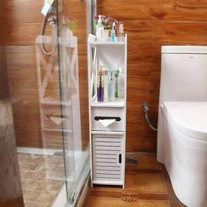 Armoire-de-salle-de-bains-en-bois-blanc-Meuble-de-rangement-Commode-avec-etagere