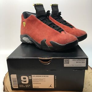 d90459dc2a16cd Air Jordan Retro 14 XIV Ferrari Red Suede 654459 670 Size 9.5 Black ...