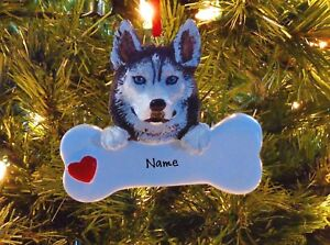 image is loading siberian husky with dog bone personalized christmas tree - Husky Christmas Decoration