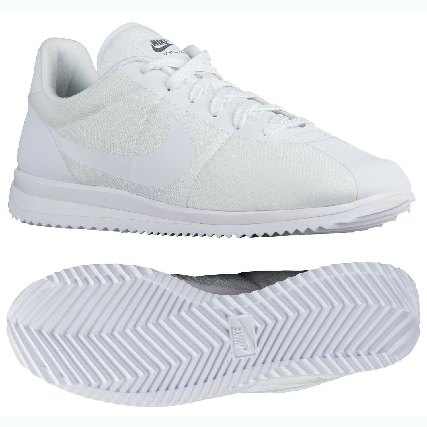 Nike Cortez Ultra 833142-101 White/White/Cool Grey Ripstop Uomo Shoes Sz 10