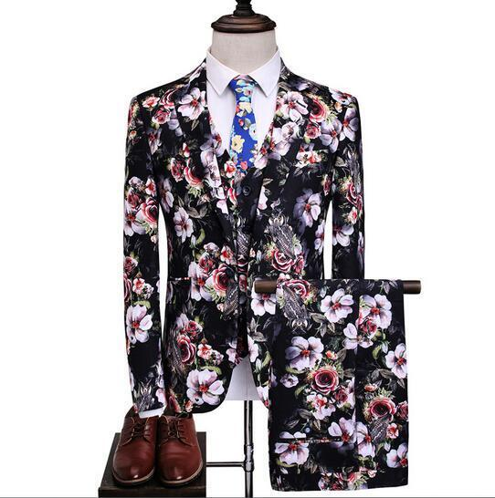 Herren Floral Vest Pants Dress Formal Party Blazer Suit Slim Coat Wedding 3 Pcs yh