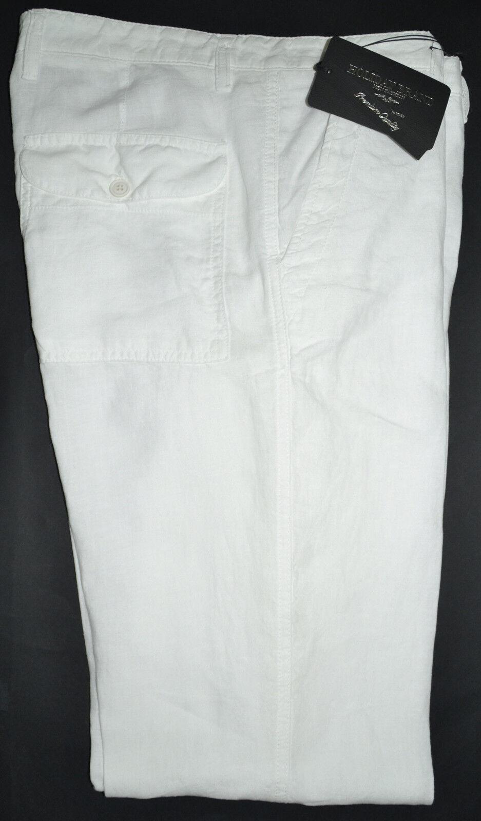 Pantalone moda uomo HOLIDAY taglia 46 48 50 52 52 52 54 lino 100% bianco 92eb26