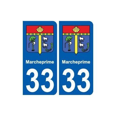 33 Marcheprime blason ville autocollant plaque stickers droits