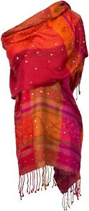 Soir-echarpe-100-Soie-Silk-Brode-Stole-handembroidered-Rouge-Red-Orange-Rose