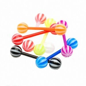 8-pieces-Set-UV-Piercing-Langue-Bioflex-haltere-raye-8-couleurs-diverses