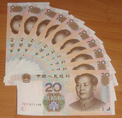 10 PCS China Banknotes 20 Yuan NEW 2005 Mao Zedong UNC