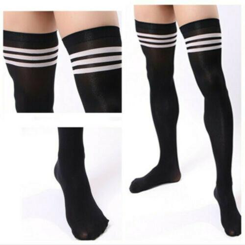 New Men Soccer Thigh Stocks Velvet High Stockings Sport Striped Long Socks