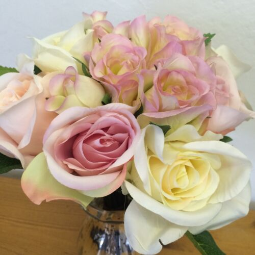 Bunch of Pale Pink /& Ivory Artificial Roses Tied Bouquet Faux Silk Rose Flowers