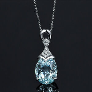 Fashion-Vintage-Silver-Aquamarine-Gemstone-Pendant-With-Chain-Jewelry-Necklace