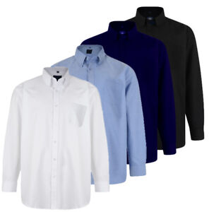 Mens-Cotton-Mix-Oxford-Long-Sleeved-Button-Down-Collar-Shirt-Plain-Casual-S-XXL