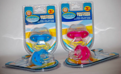 BPA FREE Pink Griptight Baby Soothing Teether 3+months Blue