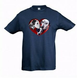 Dalmatians in a Heart Kids Dog-Themed Tshirt Childrens Tee, Check Measurements