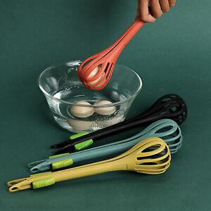 EGG WHISK TONGS FAST MIXING MULTIFUNCTIONAL WITH LOCK CLIP SALAD MIXER TOOL DUR