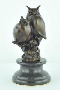 Statue-Sculpture-Chouette-Hibou-Animalier-Style-Art-Deco-Bronze-massif-Signe
