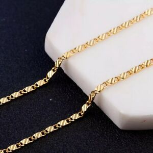2mm Chain Necklace Men And Women 18k Jewelry 18 18 20 22 24 26 28 30 Inches Ebay