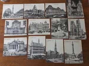 Lot-de-12-cartes-postales-anciennes-debut-XXeme-monuments-de-Bruxelles