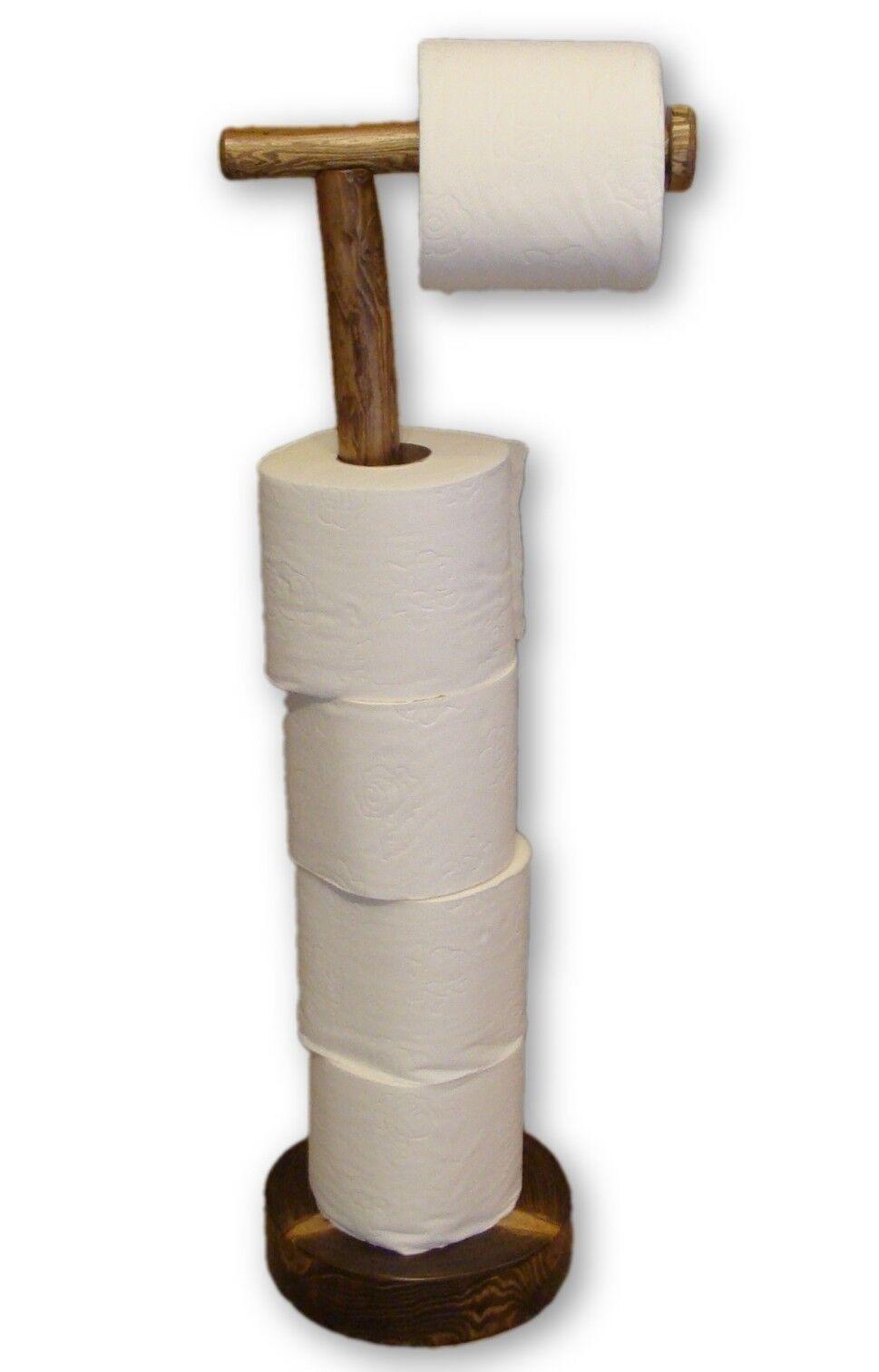 Free Standing Antique Bathroom Pedestal 4 Storage Toilet Paper Holder Wood Decor