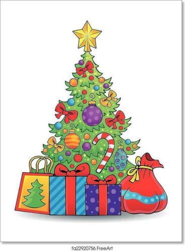 Home Decor Wall Art Poster Christmas Tree Theme 6 Art//Canvas Print