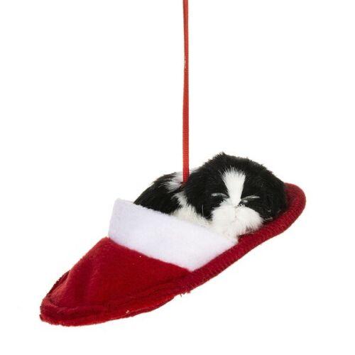 Plush Cat or Dog in Slipper Ornament