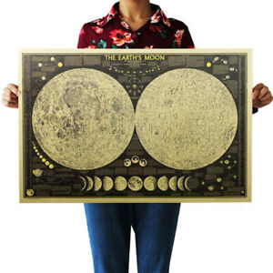 Astronomy-Science-Poster-Planet-The-Earth-Moon-Kraft-Paper-Wall-Sticker-A