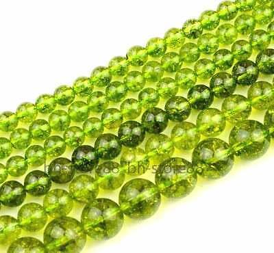 4、6、8、10、12、14mm Green Peridot Round Gemstone Beads 14''