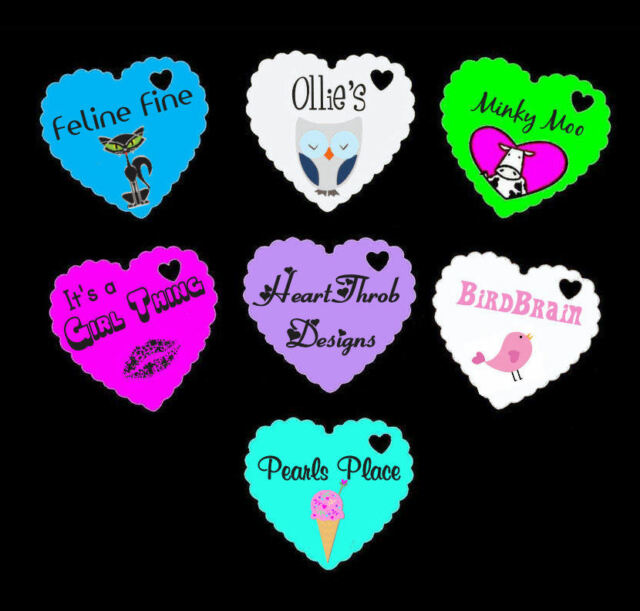 100 Personalised Printed Scalloped Heart Price Tags / Labels Jewellery Display