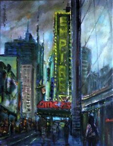 Empire-Theater-New-York-11x14-in-Original-Oil-canvas-Painting-Hall-Groat-Sr