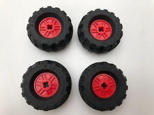 LEGO-x-4-noir-amp-rouge-TECHNIC-wheels-37-x-18R-56891-55982-Pneus
