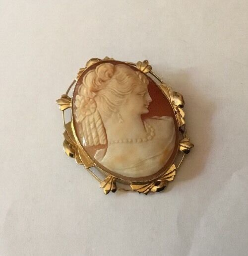 VINTAGE GRANDE 9ct 9ct 9ct 9k oro Intagliati SHELL CAMEO LADY BELLA CORNICE da intaglio Deco b9f5aa