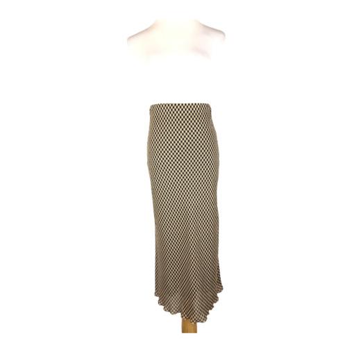 Nanushka Size XS Gingham Midi Skirt Elastic Waist