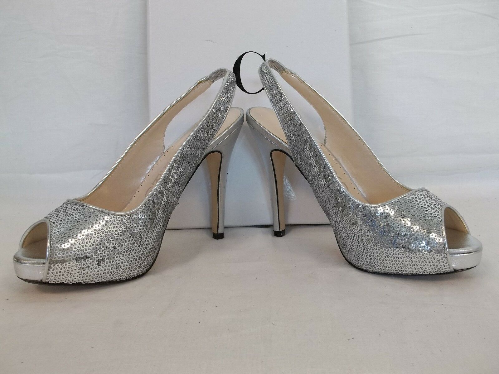 Caparros 6.5 M Channing Silver Satin Open Open Open Toe Sling Backs Heels New Damenschuhe Schuhes e47305