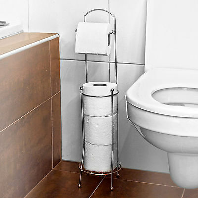 Free Standing Toilet Paper Holder Stand Tissue Dispenser Bathroom Organizer