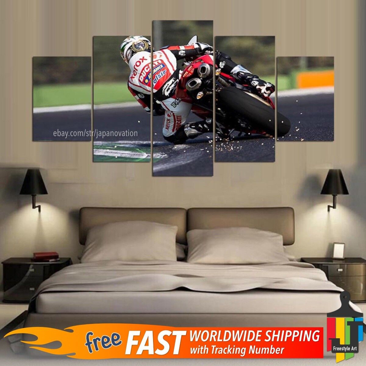 5 Pieces Home Decor Canvas Print Speed Sports Wall Art Racing Motorcycle Biker