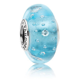 Details about NEW! AUTHENTIC PANDORA Blue Effervescence Murano Charm - 9095