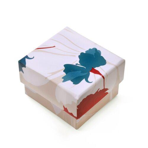 MATERIA 3 x Ringbox Ohrsteckerbox Blumen Schmuckschachtel lackiert 45x45mm