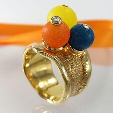A737 Designer Ring 925 Silber Schmuck Gold verg. + Diamant Jade Achat Handarbeit