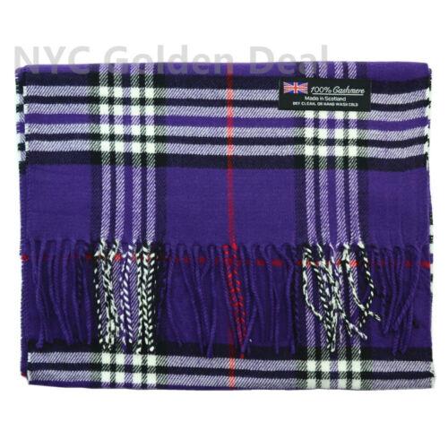 Men Women Unisex 100/% CASHMERE Scarf Classic Tartan Stripe Wool Wrap SCOTLAND