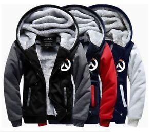 game overwatch warm thicken jacket cosplay sweater hoodie fleece