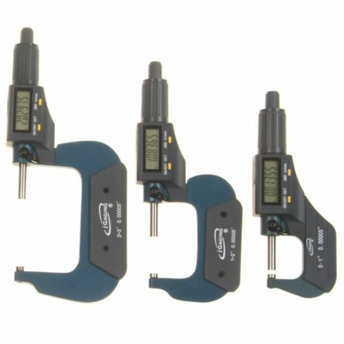 "3 pc 0-3/""//0.00005/"" Micrometer Digital Electronic Oustside X-Large LCD Individual"