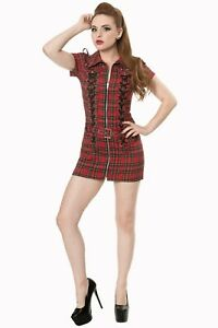 Red-Tartan-Check-Gothic-Rockabilly-Retro-Lace-Up-Mini-MOD-Dress-Banned-Apparel