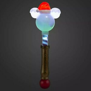 """New Disney Mickey Mouse Glow Wand W// Spinning Light Up Bow 16.5/"""" Tall"""