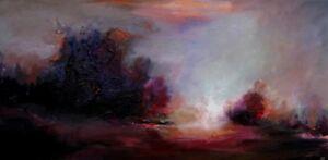 Original-PAINTING-CES-ABSTRACT-Landscape-Textured-Trees-Purple-Orange-Wall-ART