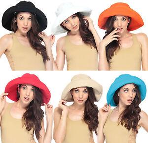 25aaf01c33e Image is loading Women-039-s-Cotton-Beach-Bucket-Hat-Wide-