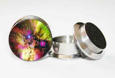 Pair Of Space Galaxy Stainless Steel Ear Gauges Tunnels Plug Expander Stretcher