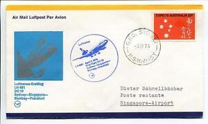 Ffc 1974 Lufthansa Primo Volo Lh 691 Dc-10 - Sydney Singapore Bombay Francoforte Pourtant Pas Vulgaire