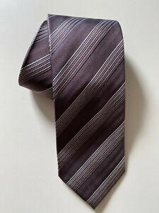 Cravate à Rayures en Soie Marron Burton - Neuve
