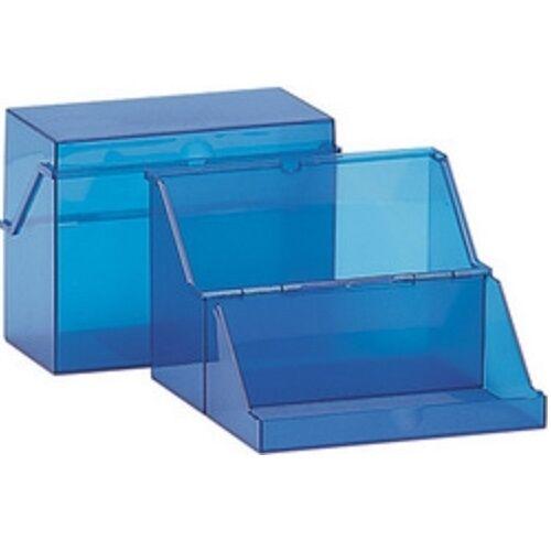 Helit Karteikasten A6 quer, Kunststoff, Lernkartei blau ohne Karteikarten, Box