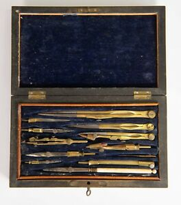 Details About Antique Mathematical Drafting Drawing Tool Set In Wood Box After Harling London