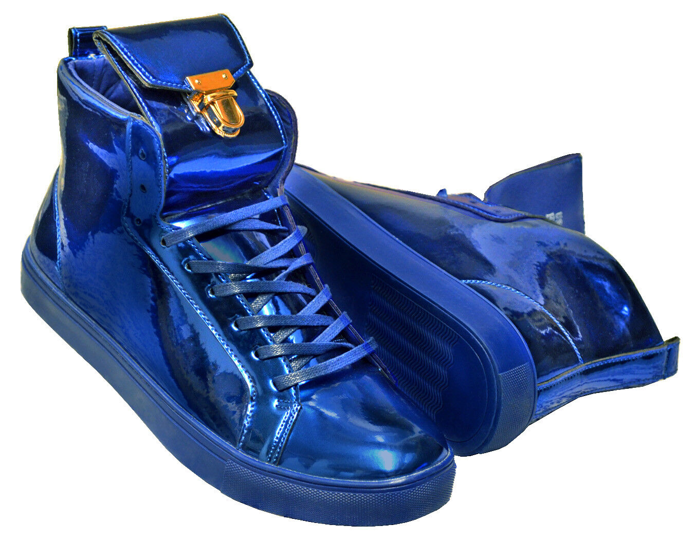 Fiesso Royal bluee Metallic Shiny High Top Lace gold Fashion Sneakers Size 9