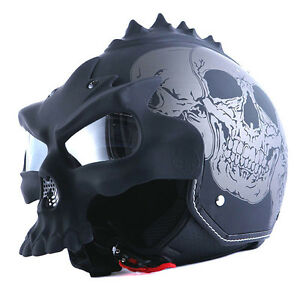 1STORM DOT Motorcycle Open Face Helmet Novelty Half 3D Skull Matt Black Gray NEW